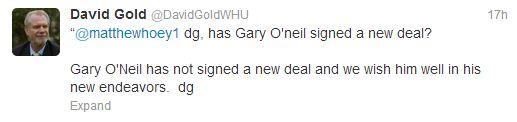 David Gold Tweet Regarding Gary O'Neil