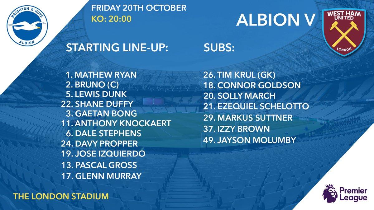 Brighton Lineup West Ham