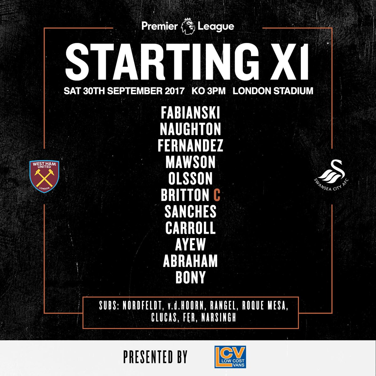 Swansea starting XI v West Ham