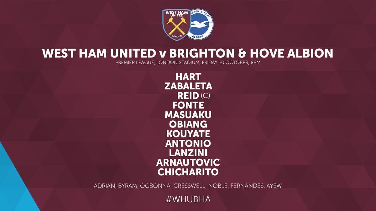 West Ham Lineup vs Brighton 2017