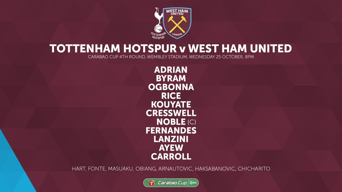 West Ham starting lineup vs Tottenham Carabao Cup 2017