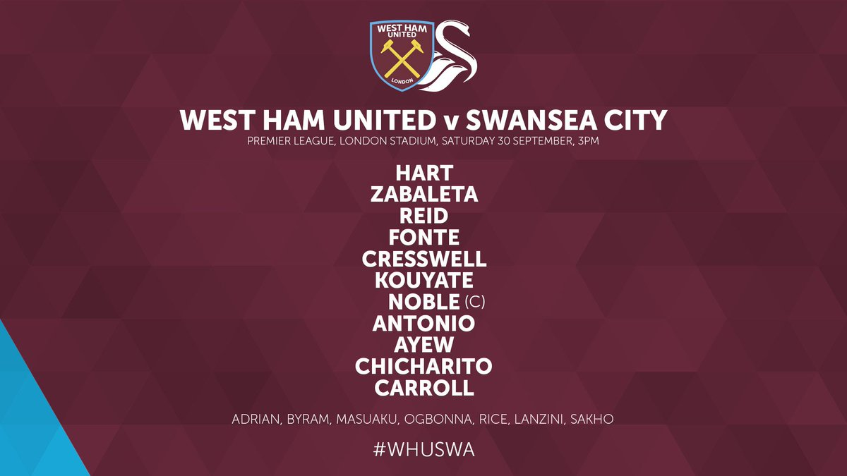 West ham Ham starting lineup vs Swansea 2017