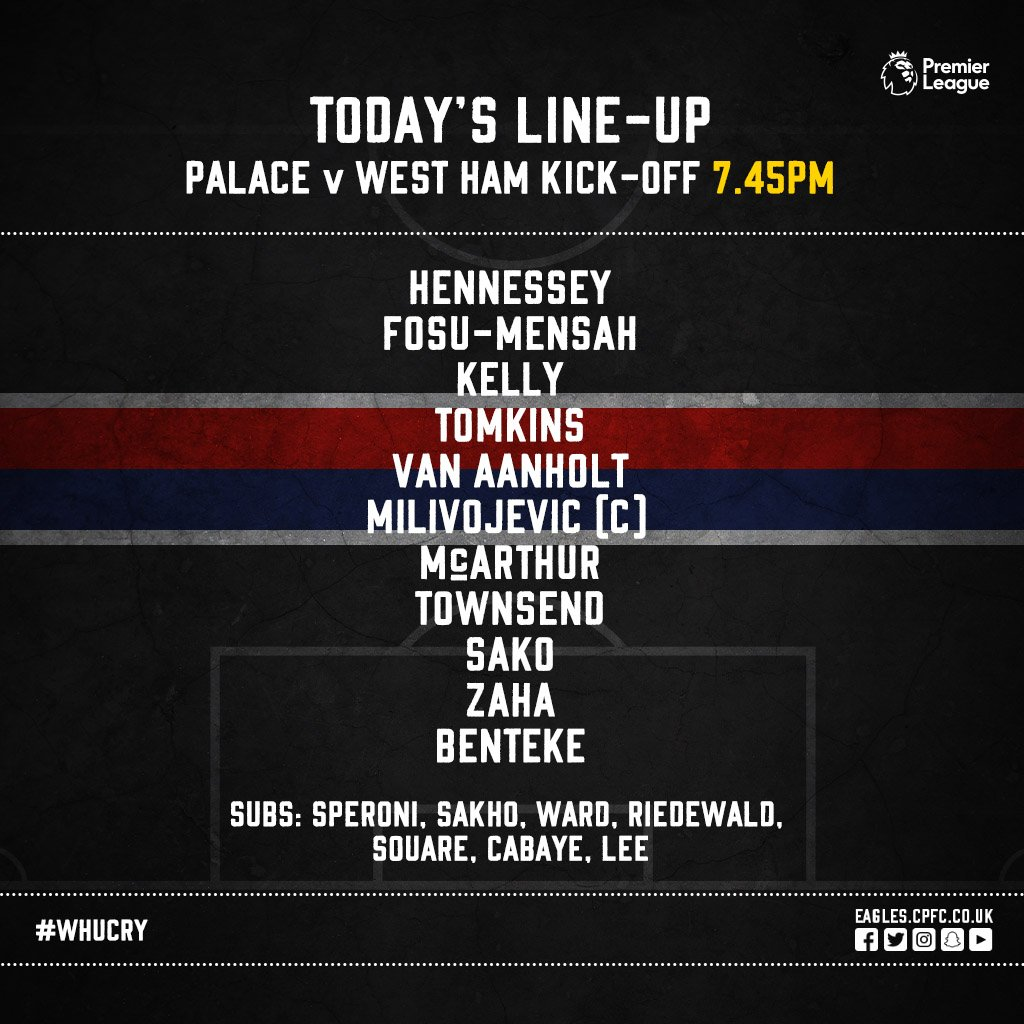 Crystal Palace starting XI v West Ham 2018