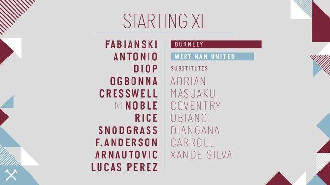 WHUFC starting lineup v Burnley 2018