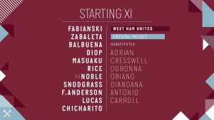 West Ham starting lineup vs Palace 2018
