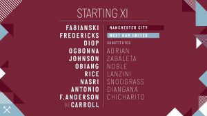 WHUFC starting lineup v Man City 2019