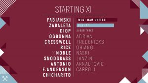 West Ham v Fulham 2019 Starting Lineup