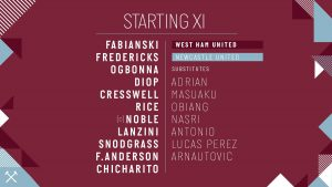WHUFC starting lineup vs Newcastle 2019