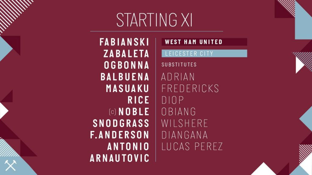 WHU starting lineup vs Leicester 2019