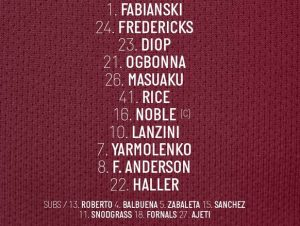 West Ham Lineup vs Norwich 2019 Unchanged