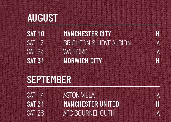 West Ham Opponents Aug Sep