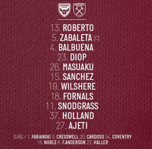 WHUFC starting lineup vs Oxford 2019