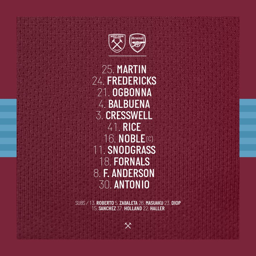 WHUFC starting lineup vs Arsenal 2019