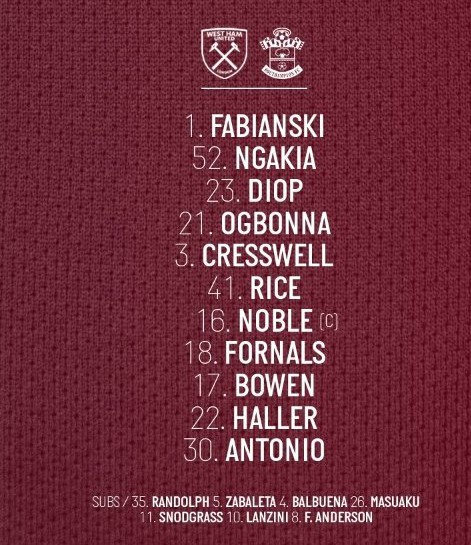 West Ham starting lineup vs Southampton 2020