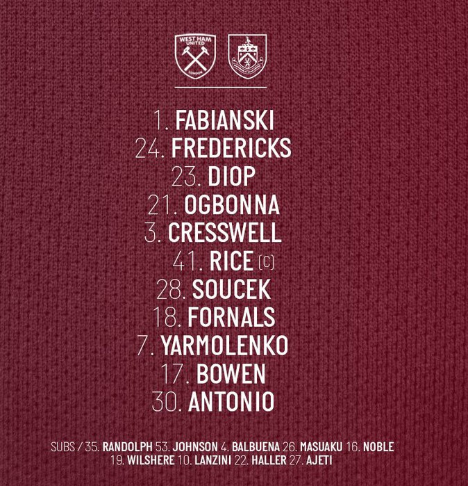 starting lineup v burnley